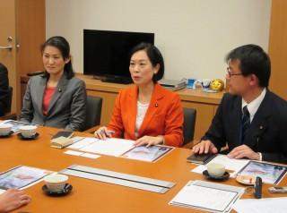 国交省に指導要請する(右から)藤本、畑野、斉藤の各氏=国会内