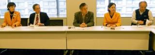 リニア対策チームの会合に参加した(左から)本村、島津、穀田、畑野、有坂の各氏=3日、国会内